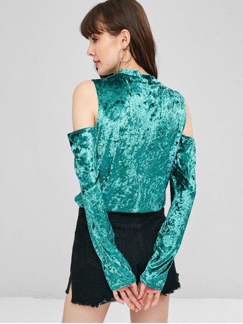shops Cold Shoulder Crushed Velvet Top - LIGHT SEA GREEN M Mobile