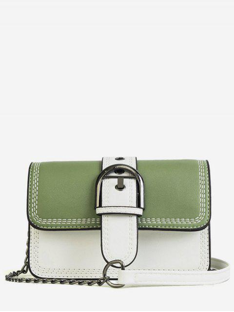 fancy Stitching Contrasting Color PU Leather Flap Crossbody Bag - GREEN  Mobile