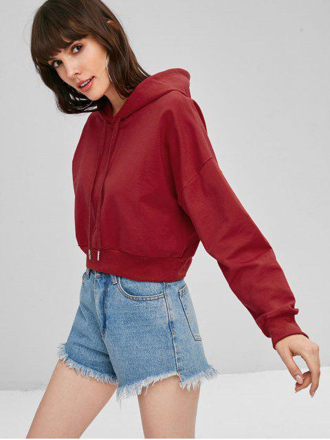 lady Slouchy Pullover Cropped Hoodie - RED S Mobile