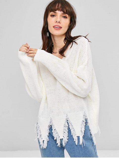 Ausgefranstes Saum Drop Schulter Pullover - Weiß Eine Größe Mobile