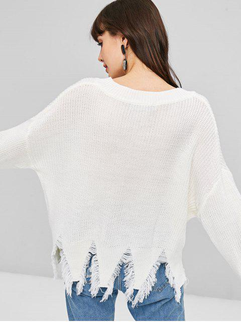 ほつれの裾ドロップショルダープルオーバーセーター - 白 ワンサイズ Mobile