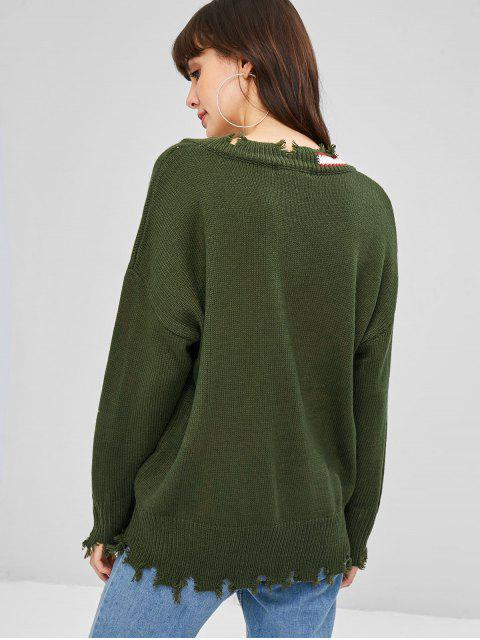 shop V Neck Ripped Sweater - ARMY GREEN ONE SIZE Mobile