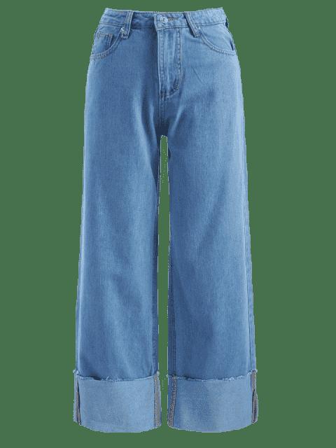 Pantalones vaqueros Palazzo de talle alto con cintura alta - Azul Denim S Mobile