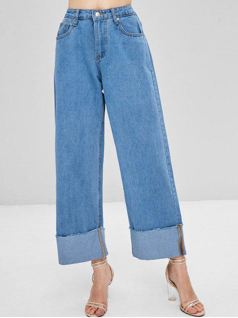 online Wide Leg High Waisted Palazzo Jeans - DENIM BLUE L Mobile