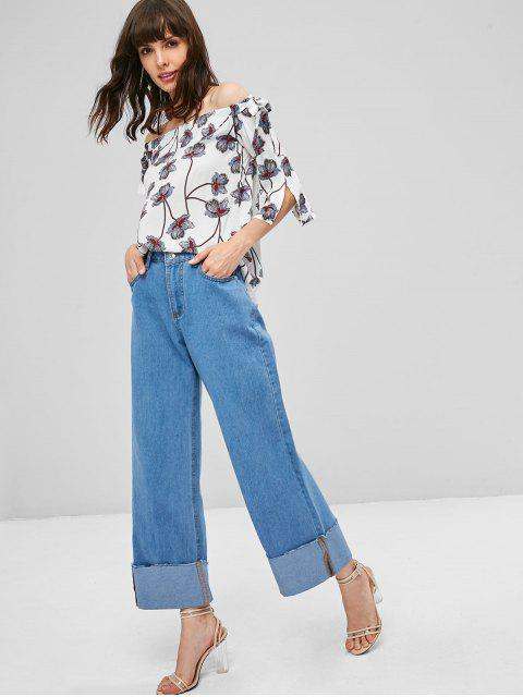 Pantalones vaqueros Palazzo de talle alto con cintura alta - Azul Denim XL Mobile