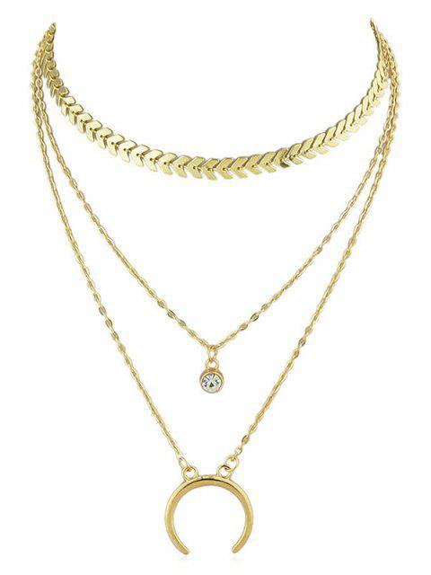 Crescent Moon Rhinestone Layer Fishbone cadena collar - Oro  Mobile