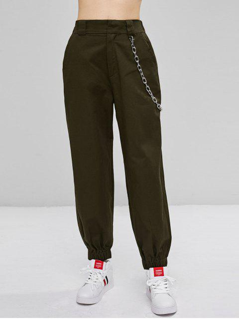 online Chain Embellished Jogger Pants - ARMY GREEN L Mobile