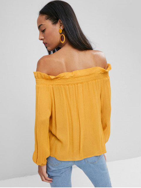 lady Smocked Panel Off Shoulder Top - BEE YELLOW S Mobile