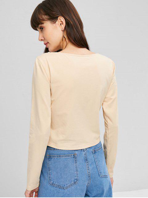 T-shirt Torsadé et Encolure en V - Blanche Amande S Mobile