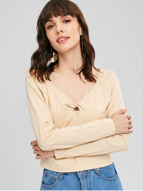 shop V Neck Twist Tee - BLANCHED ALMOND M Mobile