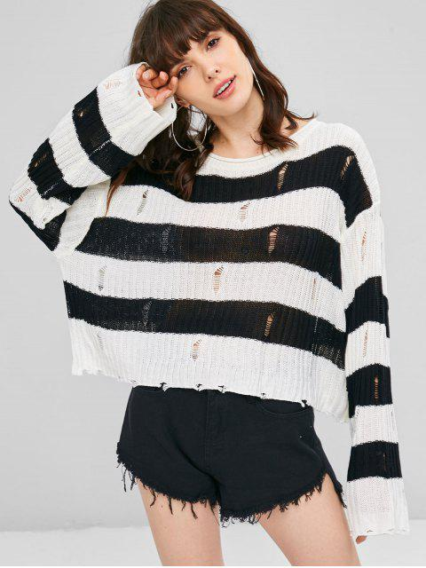 buy Distressed Stripes Cropped Sweater - WHITE ONE SIZE Mobile