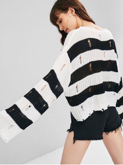Suéter Gola Redonda Listrado Barriga de Fora - Branco Um Tamanho Mobile