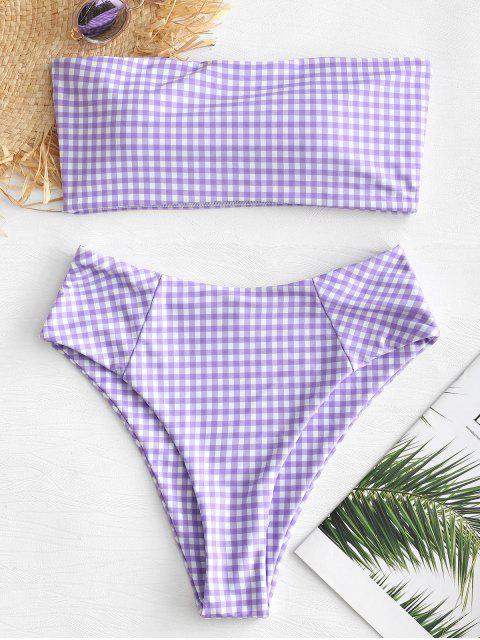 Conjunto de bikini de corte alto y cuadros escoceses - Púrpura Mediana L Mobile