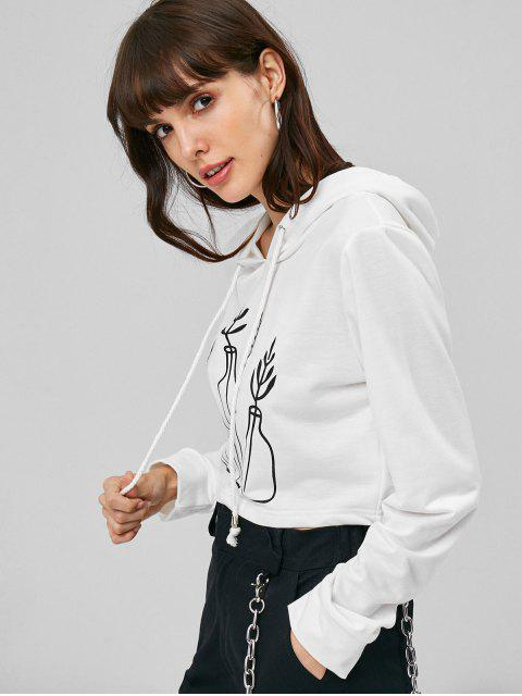 buy Plant Print Graphic Cropped Hoodie - WHITE L Mobile