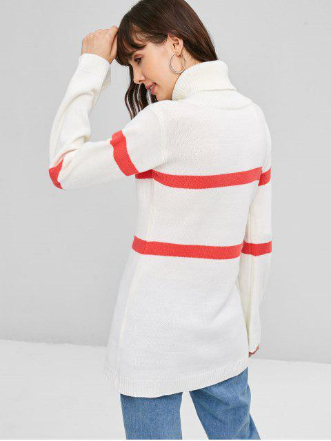 ZAFUL Camisola de Gola Alta com Listras - Branco M Mobile