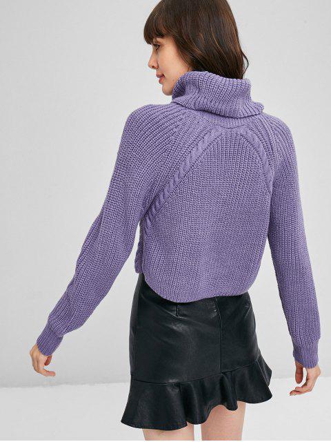shops ZAFUL Cable Knit Turtleneck Cropped Sweater - MEDIUM PURPLE L Mobile