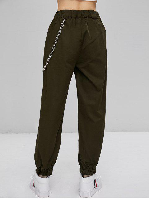チェーン装飾ジョガーパンツ - アーミーグリーン M Mobile