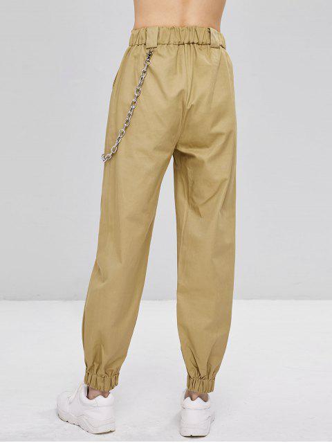 hot Chain Embellished Jogger Pants - LIGHT KHAKI L Mobile