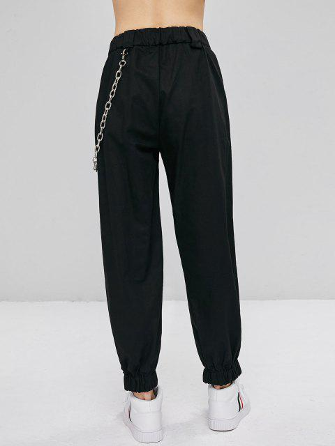 women Chain Embellished Jogger Pants - BLACK M Mobile