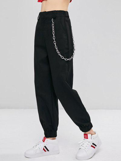 f199f8abd37f21 Chain Embellished Jogger Pants - Black M ...