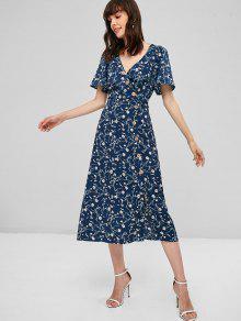 فستان بطبعة ورود من Surplice Floral Midi Flowy - منتصف الليل الأزرق L
