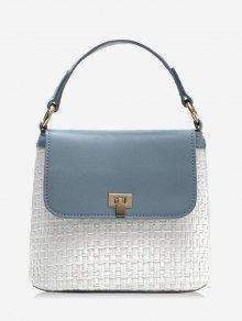 تباين الألوان رفرف سترو شيك حقيبة يد مع الشريط - أزرق