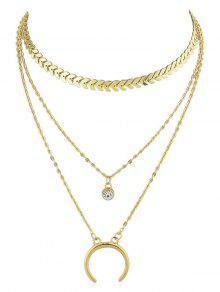 الهلال القمر حجر الراين سلسلة قلادة Fishbone سلسلة - ذهب