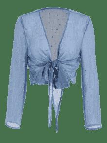 Doradas Blusa Con Koi Semitransparente De Y Lazo Estrellas De Azul L qIwSFw1