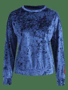 Carta Marino Azul Camiseta Terciopelo Triturado Parcheado De S wWZzwqHBr