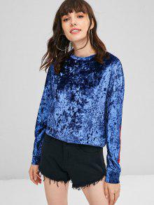 Terciopelo Azul Marino Camiseta Triturado Parcheado S Carta De qgtHO