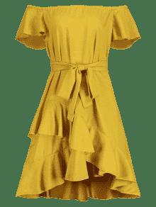 De Volantes M Vestido Amarillo Con Brillante Volantes R8nHPnB