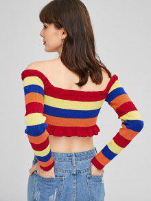 En Contraste Multicolor M Jersey Hombros Descubiertos Cuello Con Con wqBExaft
