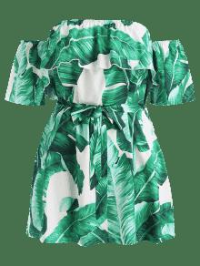 Tallas De Sin Hombros Vestido Con Hojas Grandes 2x Verde 5apdxUw