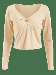 Almendra M Neck Twist Blanco Camiseta V FOIZqA6