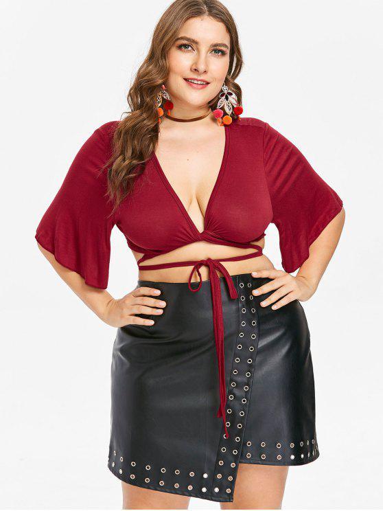 Camiseta con cuello redondo y pliegue talla grande - Vino Tinto L