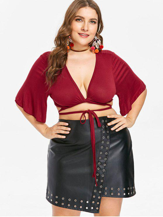 outfit Plus Size Twist Plunge Crop Tee - RED WINE 4X