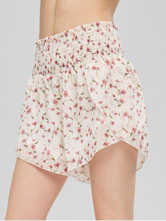 trendy Tiny Floral Smocked Shorts - BEIGE XL