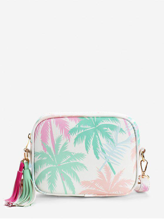 Folhas Tropicais Imprimir Color Block Tassels Crossbody Bag - Verde