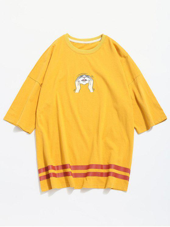 lady Squeeze Cat Face Print Graphic T-shirt - YELLOW L