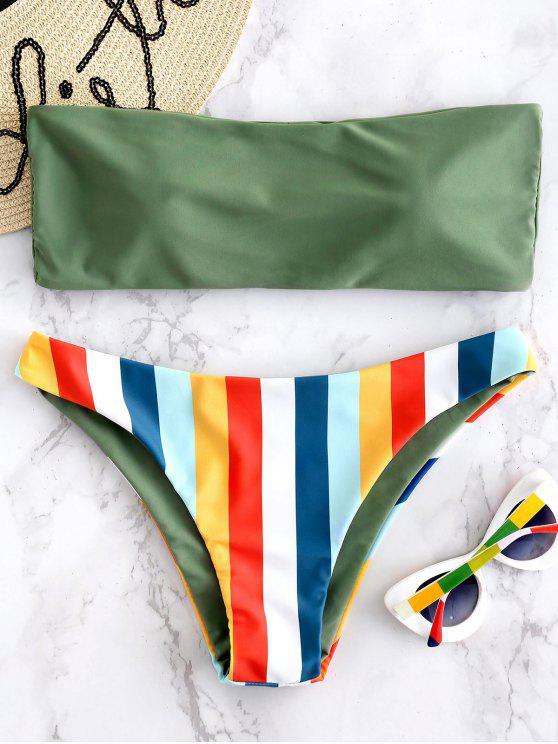 hot Bandeau Rainbow Striped Bikini Set - HAZEL GREEN L