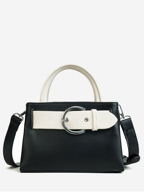 ladies Contrasting Color Minimalist Buckled Embellished Handbag - BLACK