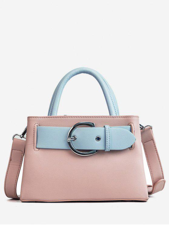 lady Contrasting Color Minimalist Buckled Embellished Handbag - LIGHT PINK