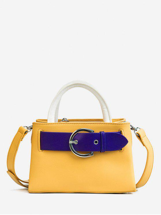hot Contrasting Color Minimalist Buckled Embellished Handbag - BEE YELLOW
