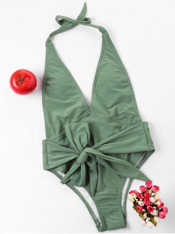 Costume Da Bagno Annodato Con Taglio Alto Senza Schienale - Verde Bruno Chiaro L