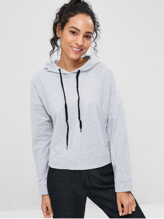 women Solid Color Drawstring Hoodie - LIGHT GRAY L