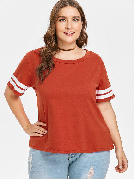 T-shirt de Grande Taille Contraste et Empiècements à Rayures - Brique Réfractaire 4X