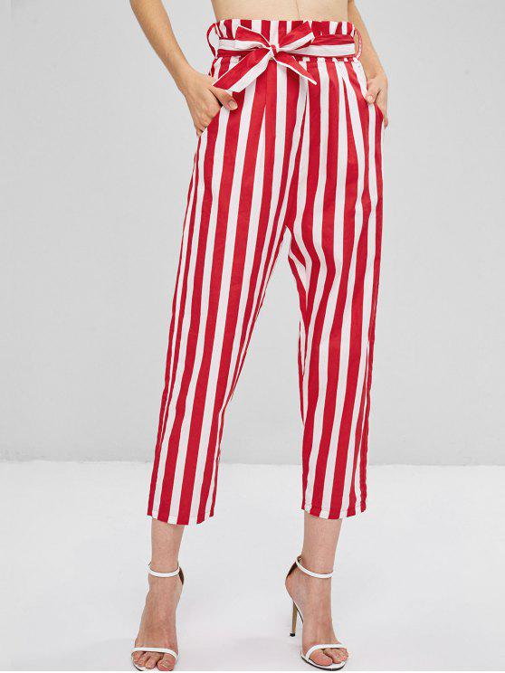 outfits Back Zipper Striped Straight Pants - FIRE ENGINE RED M