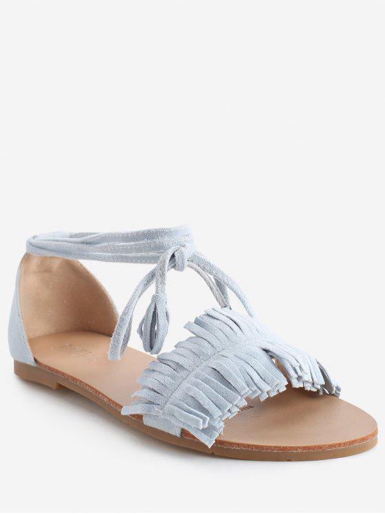 Sandalias de tacón plano con cordones Bohemia Vacation - Celeste Ligero 36