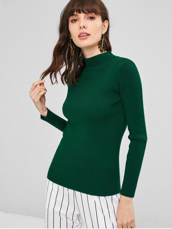 Jersey Acanalado Cuello Alto - Verde Oscuro Talla única