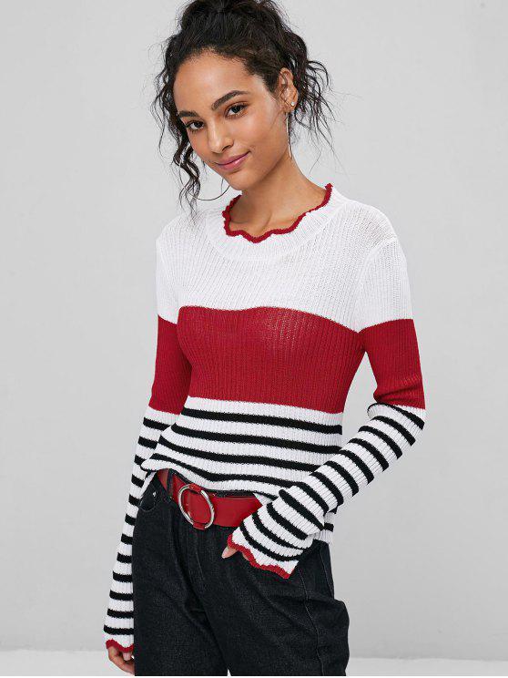 Scalloped Red Striped Striped Sweater Lava Scalloped Sweater 44r7w8q